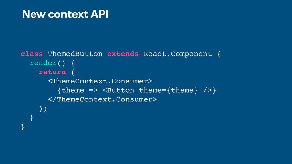 New context API class ThemedButton extends Reac...