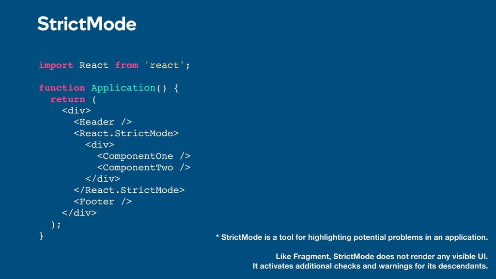 import React from 'react'; function Application...