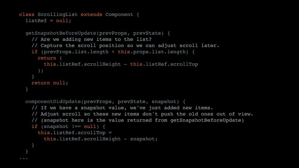 class ScrollingList extends Component { listRef...