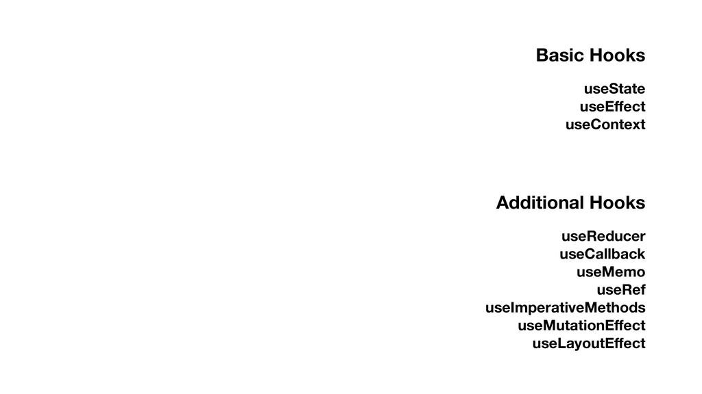 Basic Hooks useState useEffect useContext Additi...