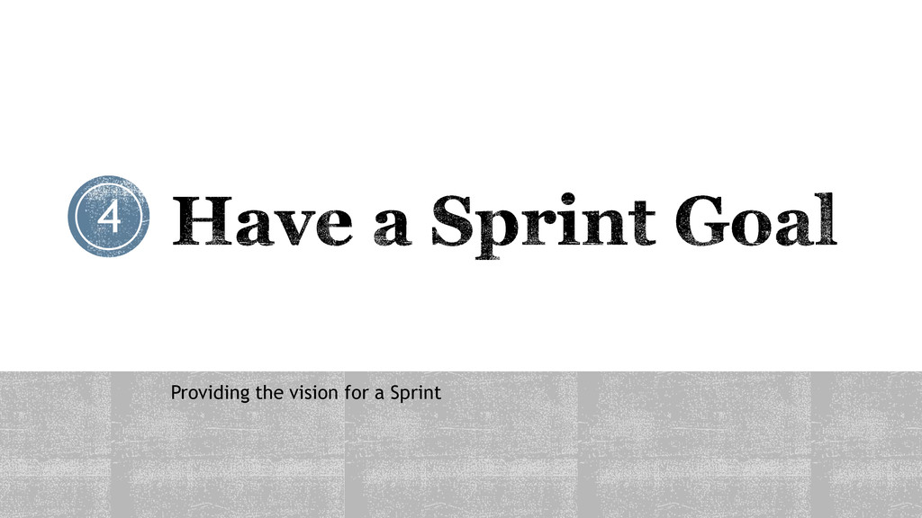 Providing the vision for a Sprint 4