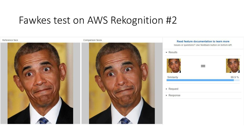 Fawkes test on AWS Rekognition #2