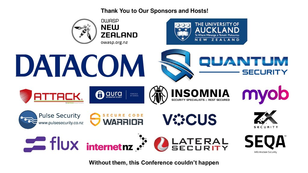 Thank You to Our Sponsors and Hosts! Without th...