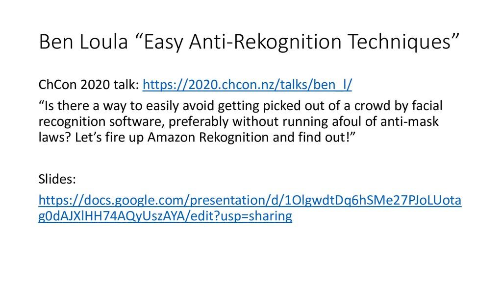 """Ben Loula """"Easy Anti-Rekognition Techniques"""" Ch..."""