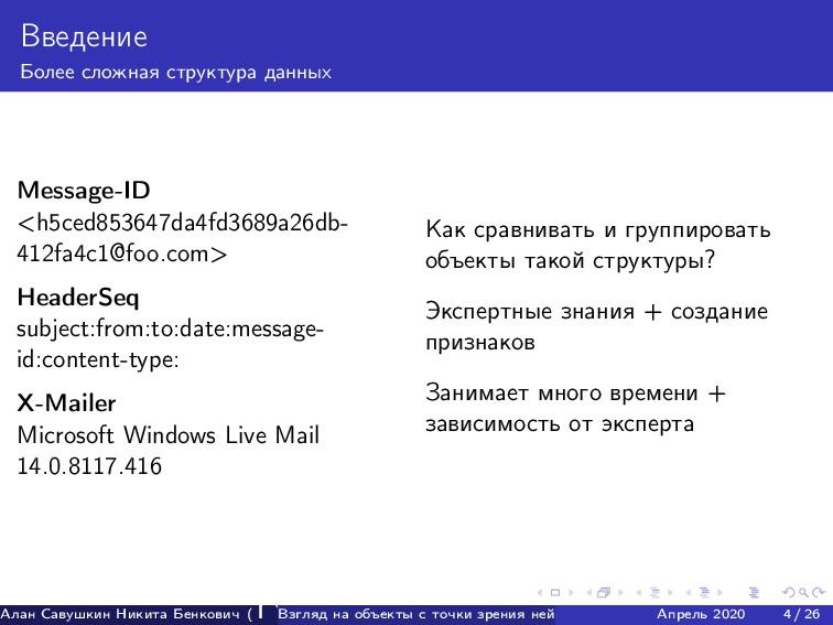 Введение Более сложная структура данных Message...