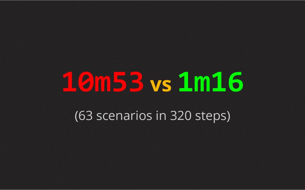 (63 scenarios in 320 steps) 10m53 vs 1m16