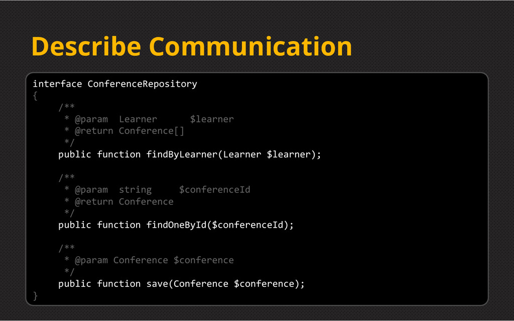 Describe Communication interface ConferenceRepo...