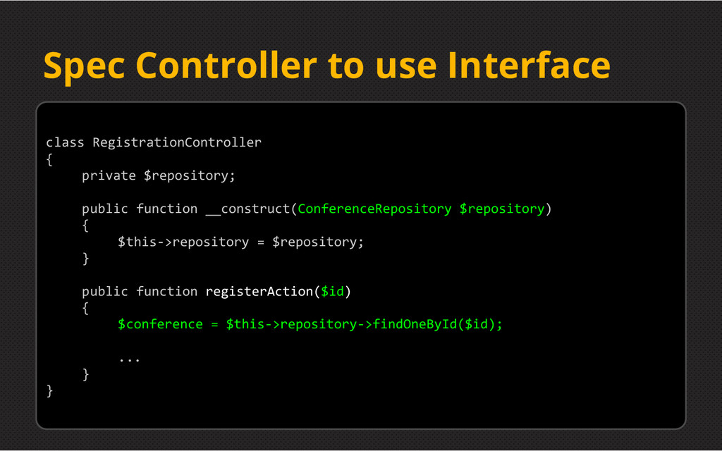 Spec Controller to use Interface class Registra...