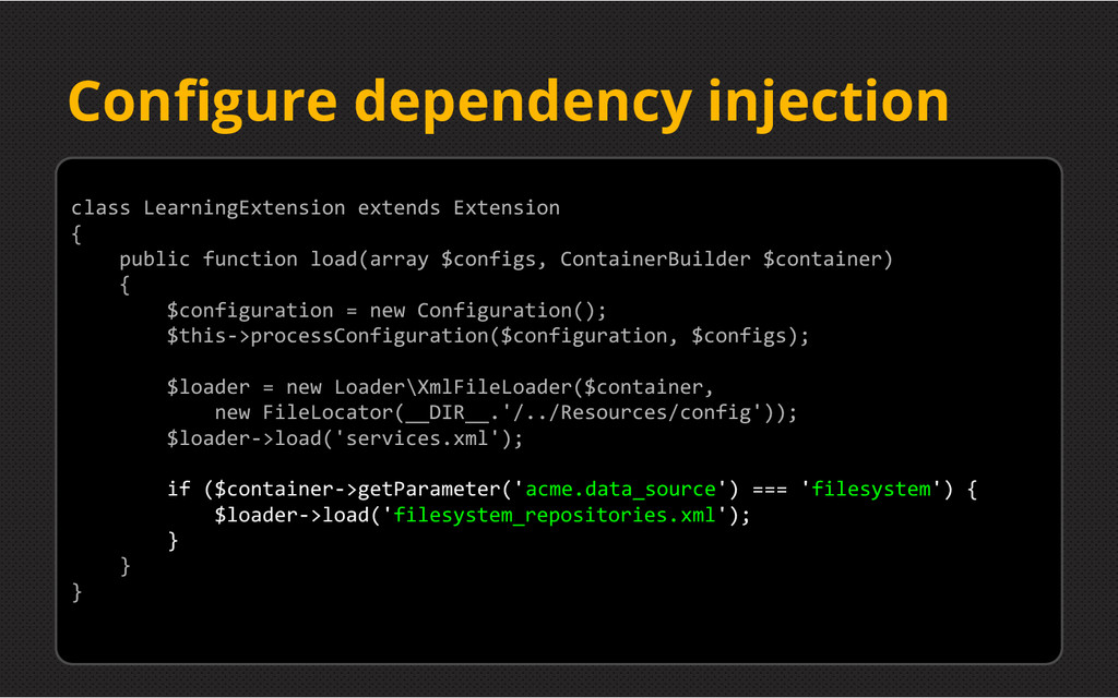Configure dependency injection class LearningEx...