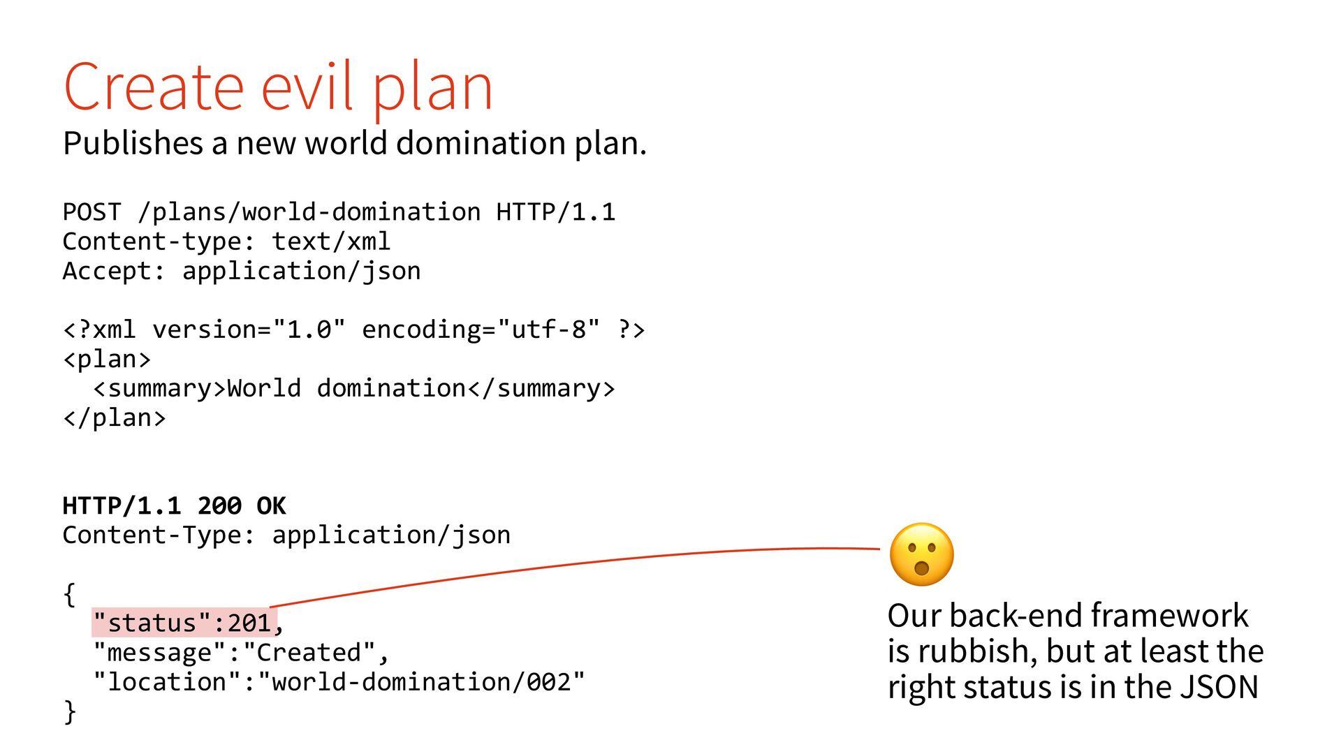 🤨 Creating a new evil plan returns a 200 OK sta...