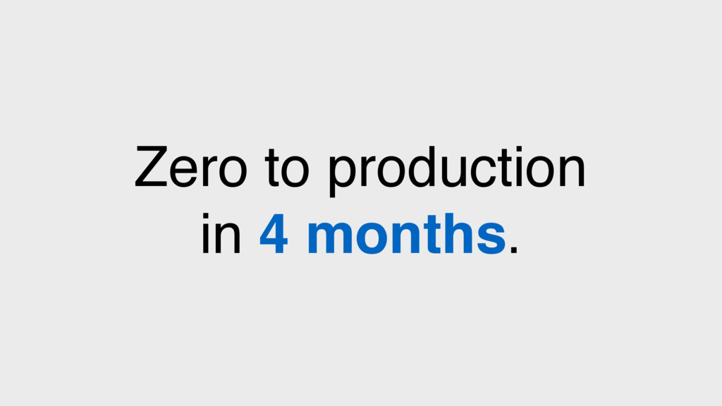 Zero to production in 4 months.