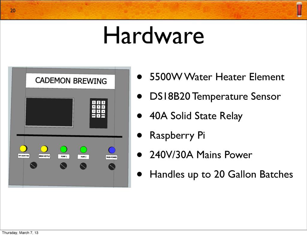 Hardware • 5500W Water Heater Element • DS18B20...