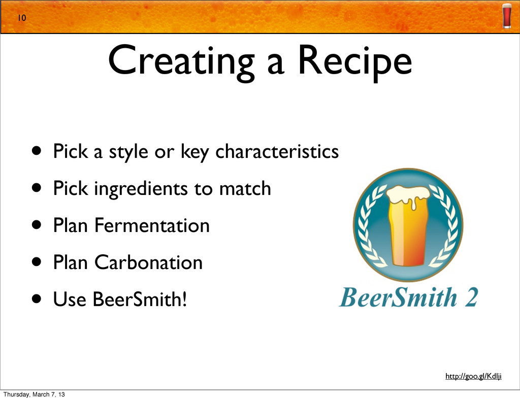 Creating a Recipe • Pick a style or key charact...