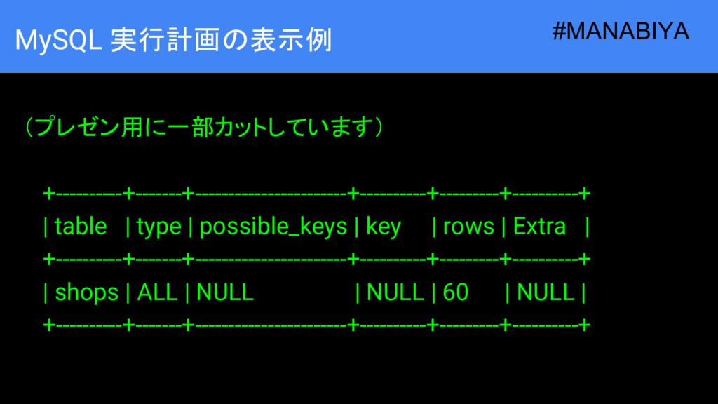 MySQL 実行計画の表示例  (プレゼン用に一部カットしています) +----------+...