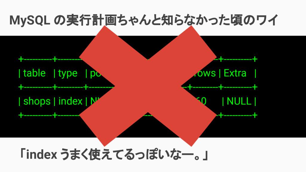 MySQL の実行計画ちゃんと知らなかった頃のワイ   「index うまく使えてるっぽいなー...