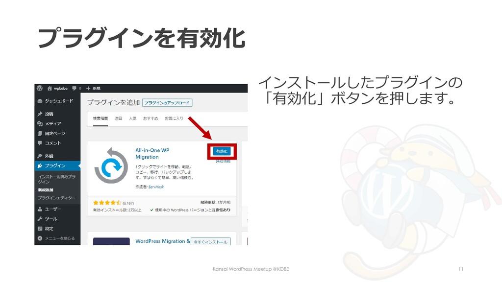 プラグインを有効化 インストールしたプラグインの 「有効化」ボタンを押します。 Kansai ...
