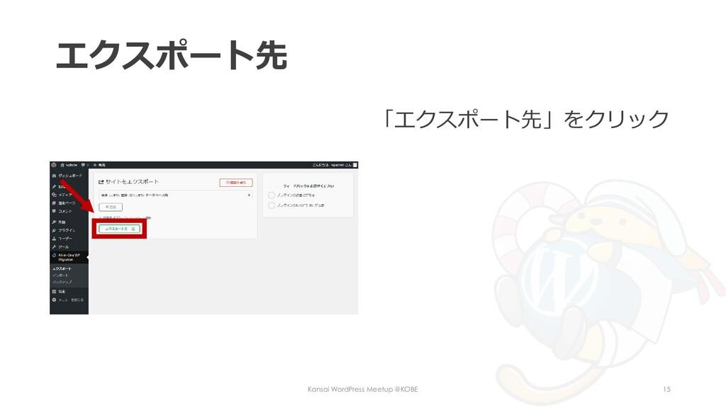 エクスポート先 「エクスポート先」をクリック Kansai WordPress Meetup ...