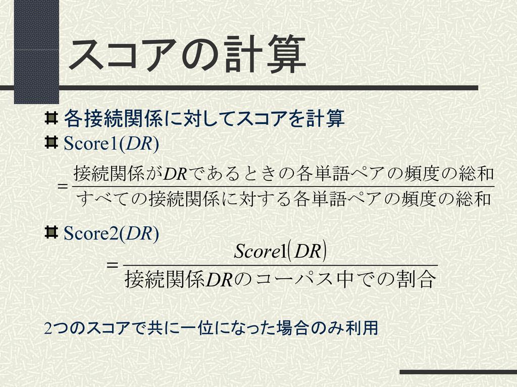 スコアの計算 各接続関係に対してスコアを計算 Score1(DR) Score2(DR) 2つ...