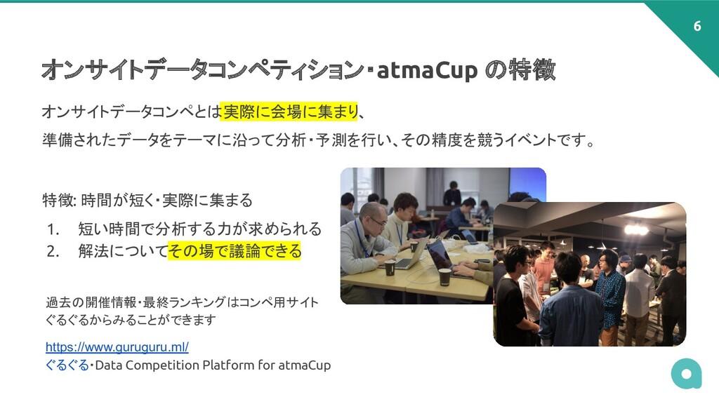オンサイトデータコンペティション・atmaCup の特徴 オンサイトデータコンペとは 実際に会...