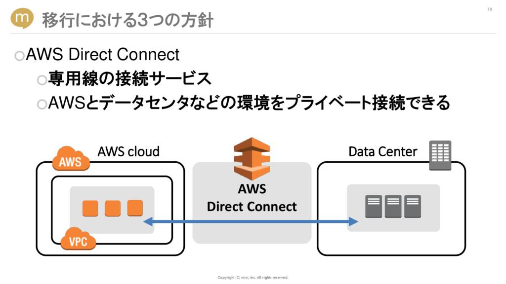 ○AWS Direct Connect ○専用線の接続サービス ○AWSとデータセンタなどの環...