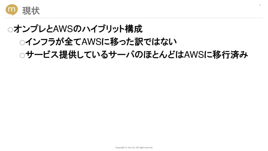 ○オンプレとAWSのハイブリット構成 ○インフラが全てAWSに移った訳ではない ○サービス提供...
