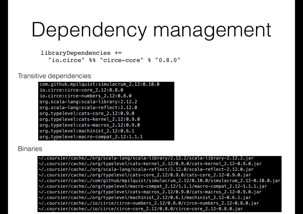 """Dependency management libraryDependencies += """"i..."""