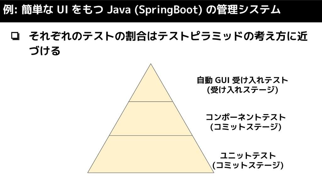 ❏ それぞれのテストの割合はテストピラミッドの考え方に近 づける 例: 簡単な UI をもつ ...