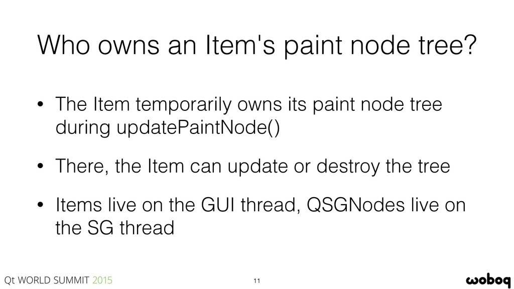 Who owns an Item's paint node tree? • The Item ...