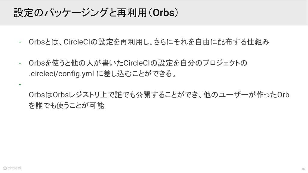 38 設定のパッケージングと再利用( ) - Orbsとは、CircleCIの設定を再利用し、...