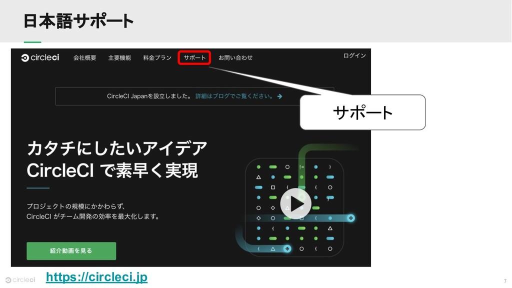 7 日本語サポート https://circleci.jp サポート
