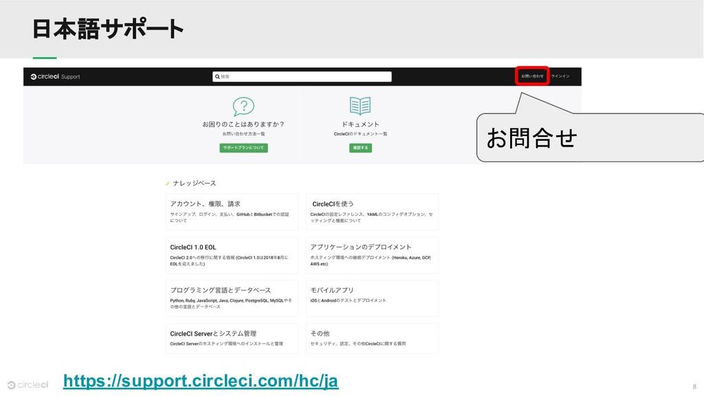 8 日本語サポート https://support.circleci.com/hc/ja お問...