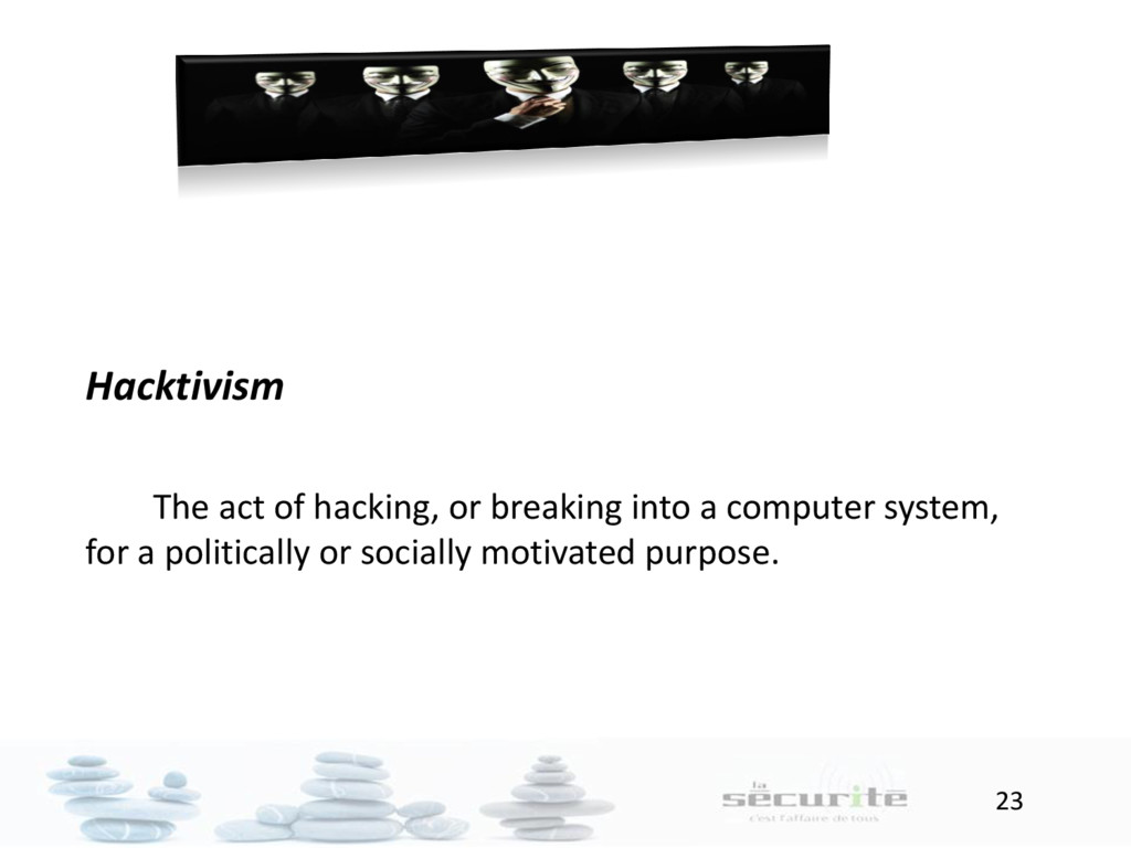 23 Hacktivism The act of hacking, or breaking i...