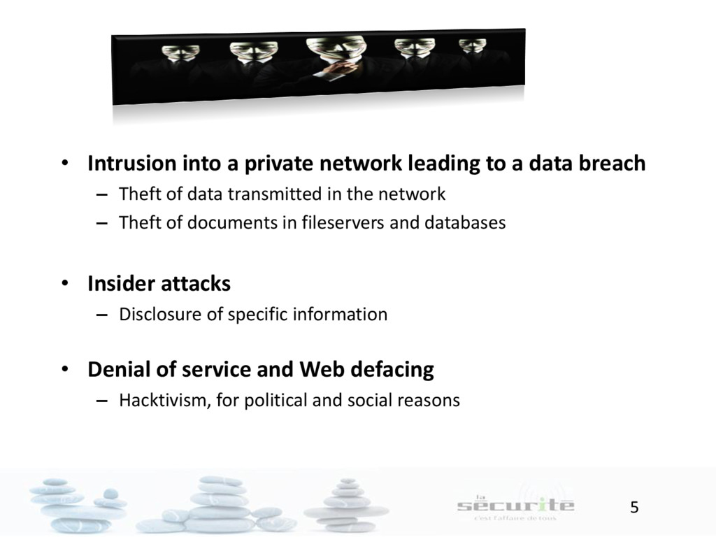 5 • Intrusion into a private network leading to...