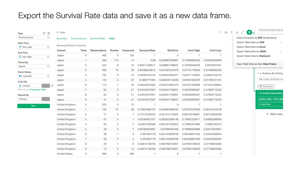 Export the Survival Rate data and save it as a ...
