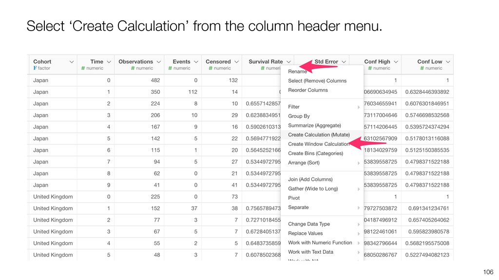 106 Select 'Create Calculation' from the column...