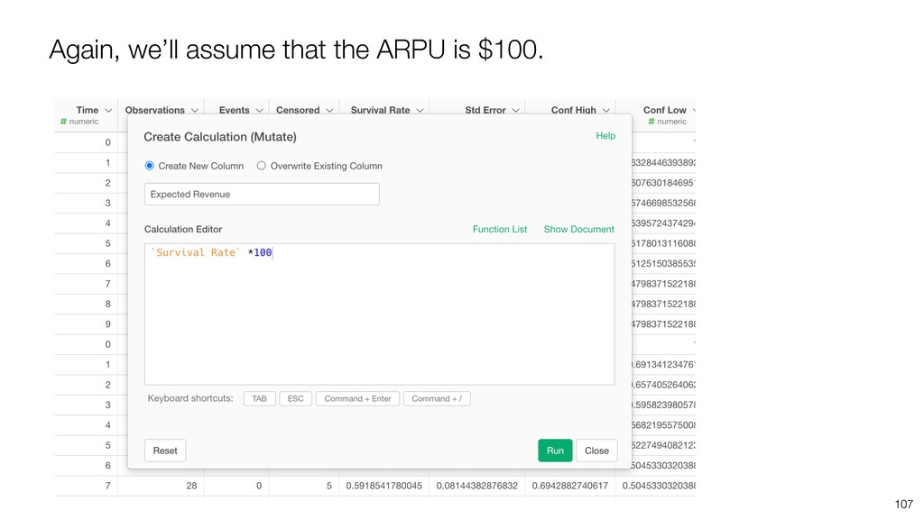 Again, we'll assume that the ARPU is $100. 107