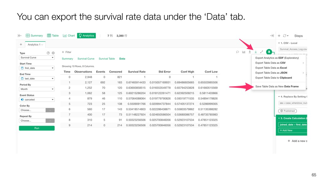 65 You can export the survival rate data under ...