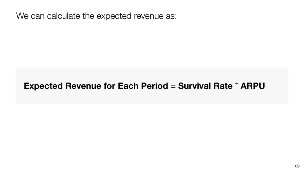89 We can calculate the expected revenue as: Ex...