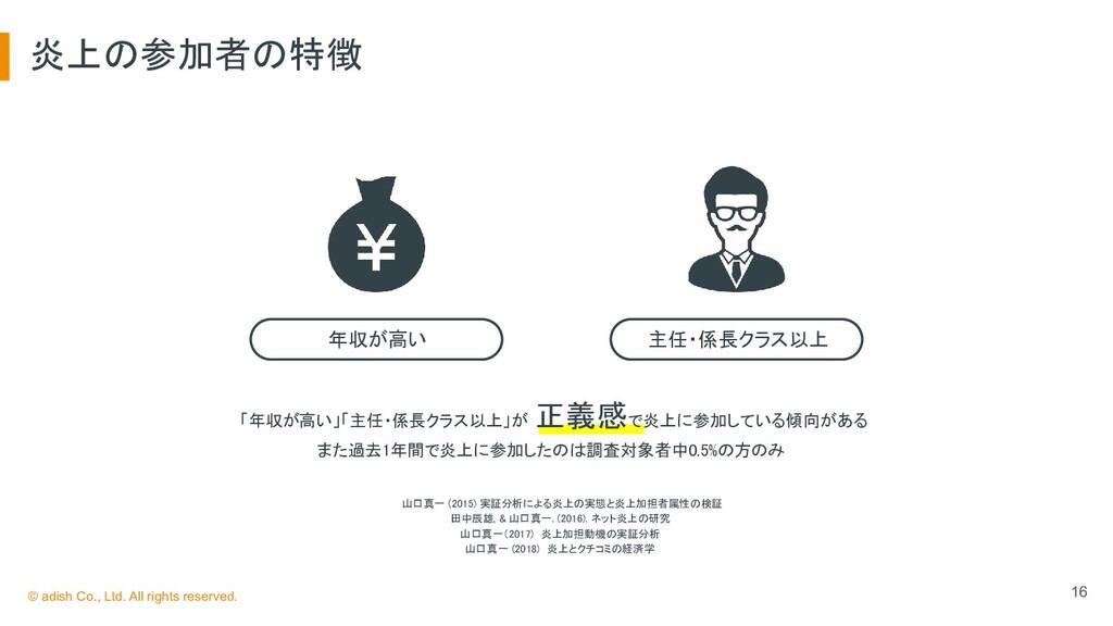 炎上の参加者の特徴 16 年収が高い 主任・係長クラス以上 山口真一 (2015) 実証...