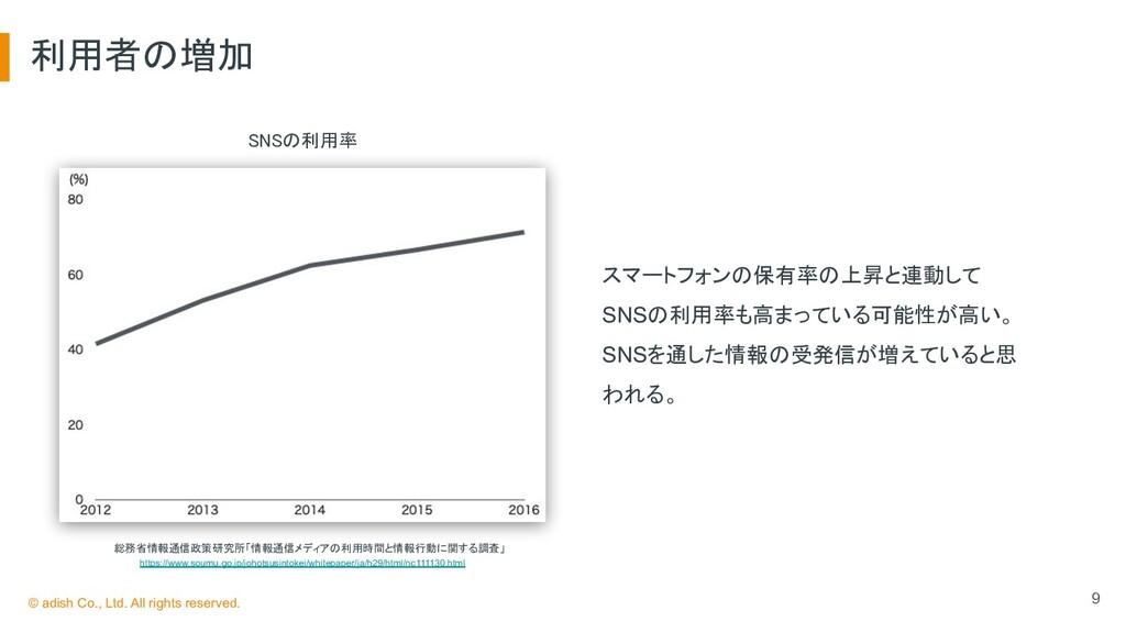 利用者の増加 9 SNSの利用率   総務省情報通信政策研究所「情報通信メディアの利用...