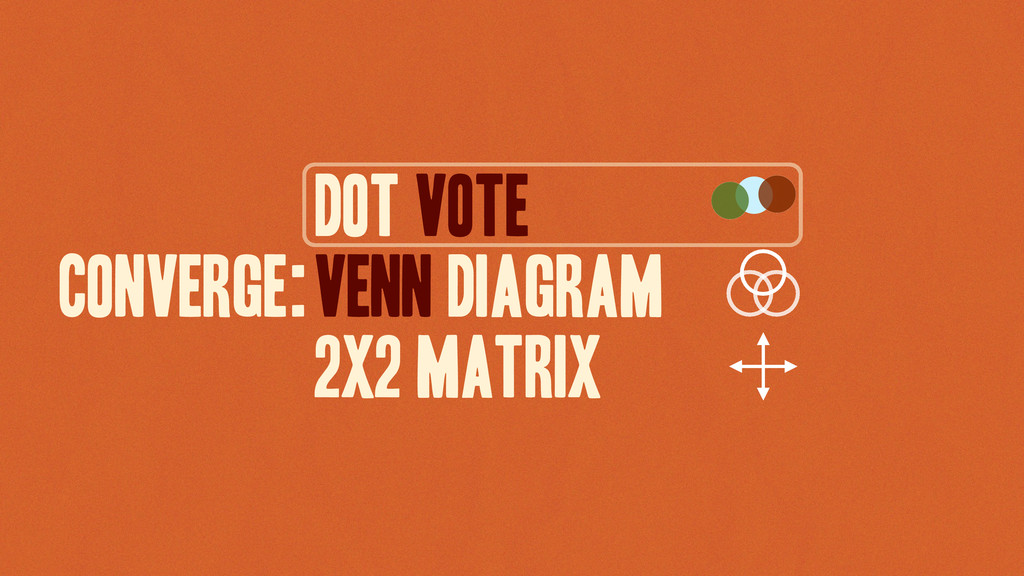 Dot vote VENN DIAGRAM 2X2 MATRIX CONVERGE: