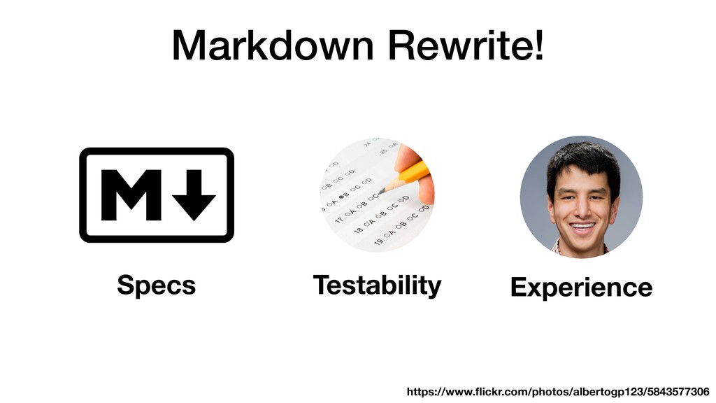 Markdown Rewrite! Experience Specs Testability ...