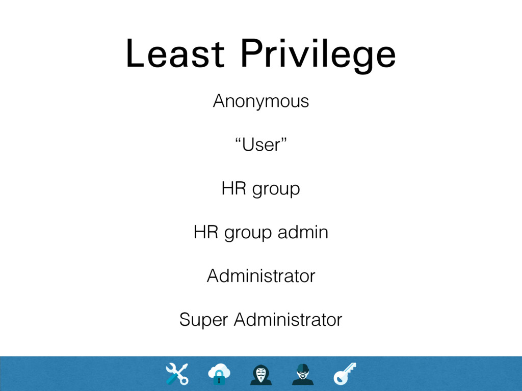 "Least Privilege Anonymous ""User"" HR group HR gr..."
