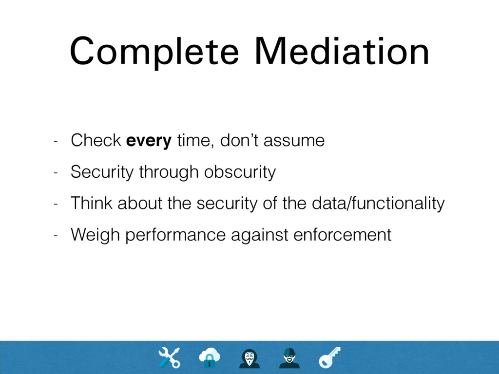 Complete Mediation - Check every time, don't as...