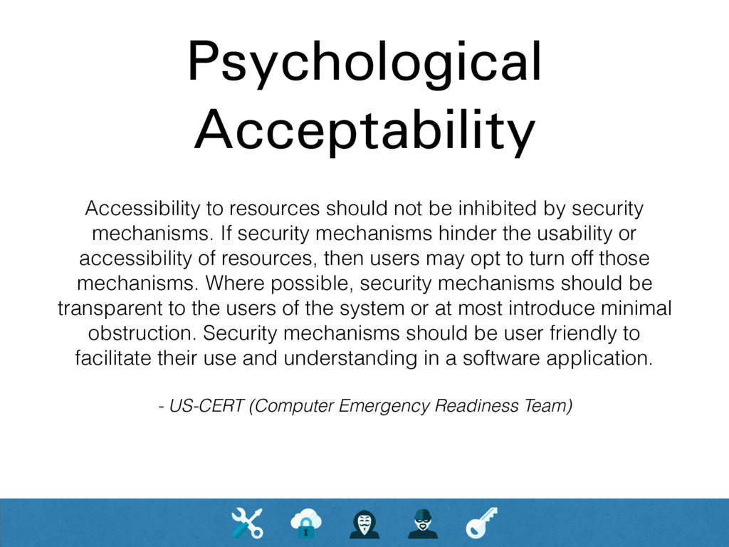 Psychological Acceptability Accessibility to re...