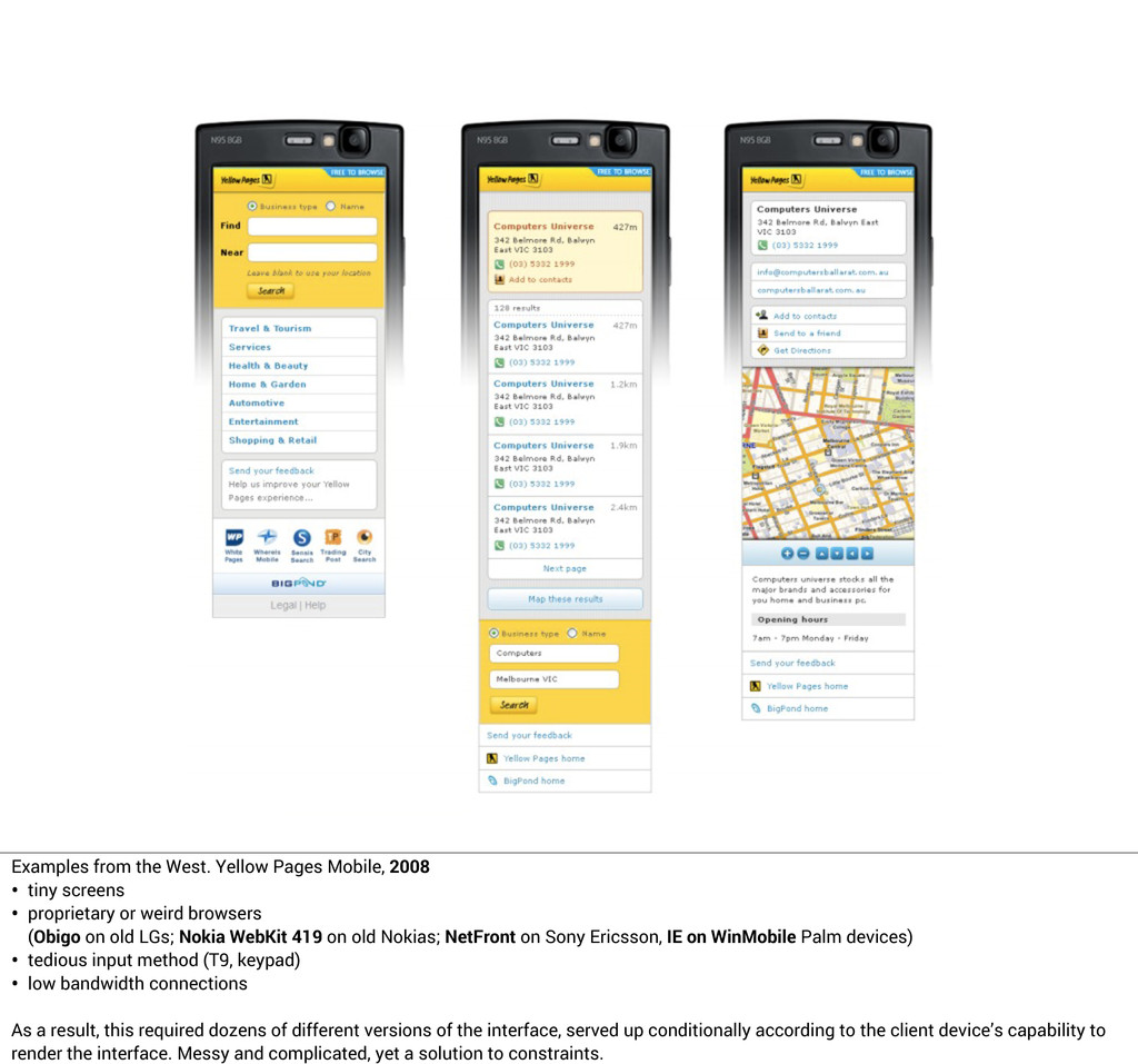Examples from the West. Yellow Pages Mobile, 20...