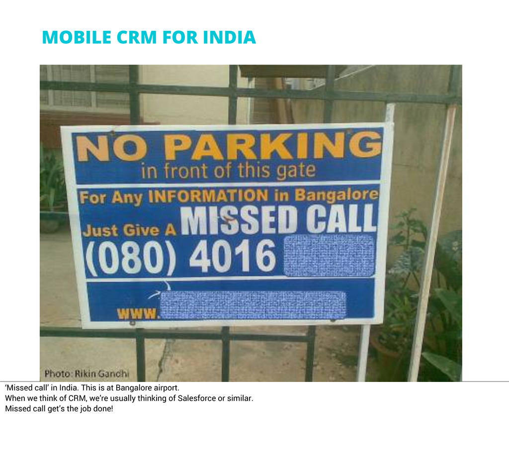 MOBILE CRM FOR INDIA 'Missed call' in India. Th...