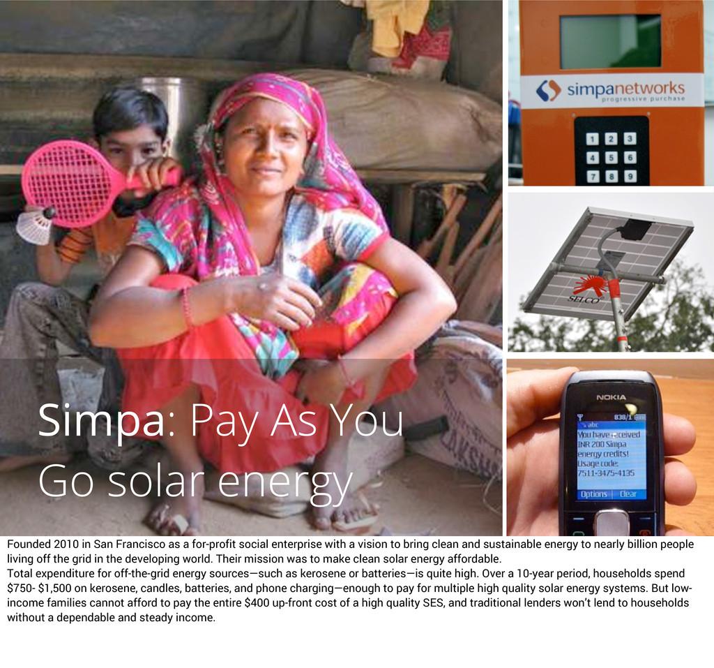 Simpa: Pay As You Go solar energy Founded 2010 ...