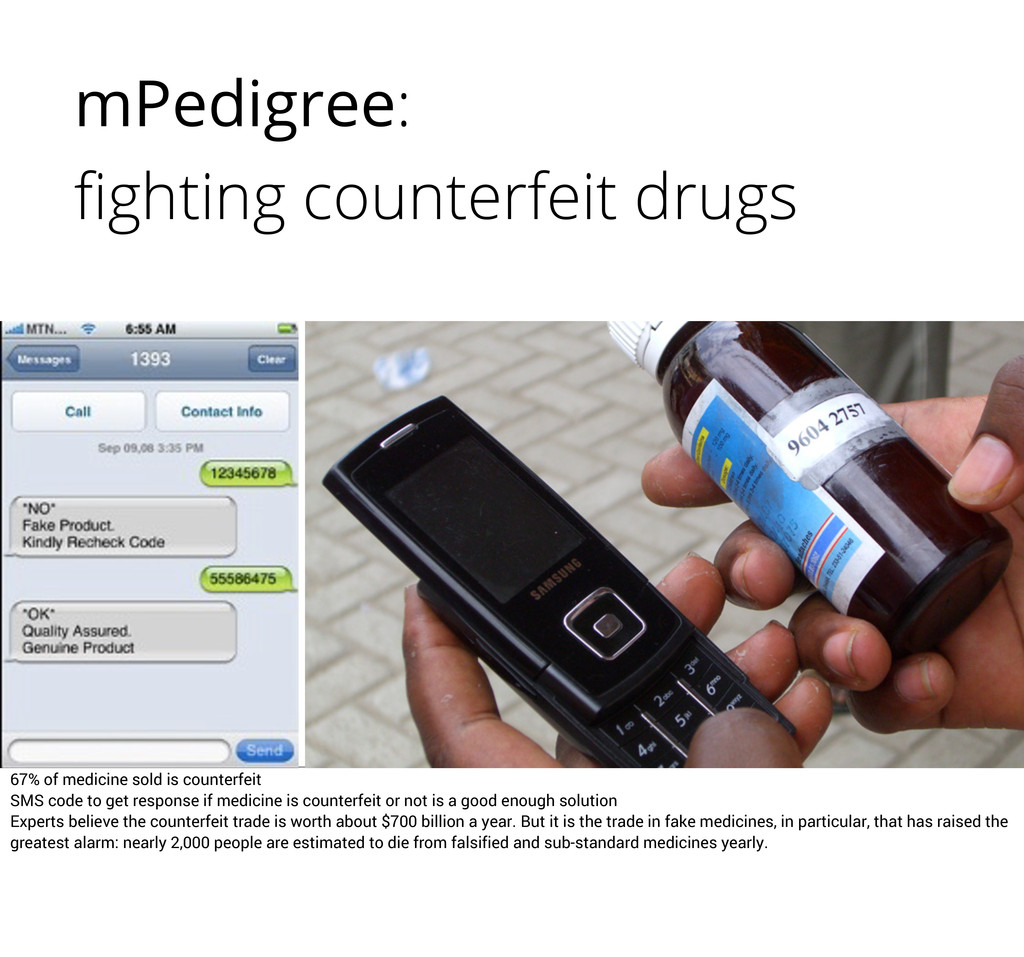 mPedigree: fighting counterfeit drugs 67% of med...