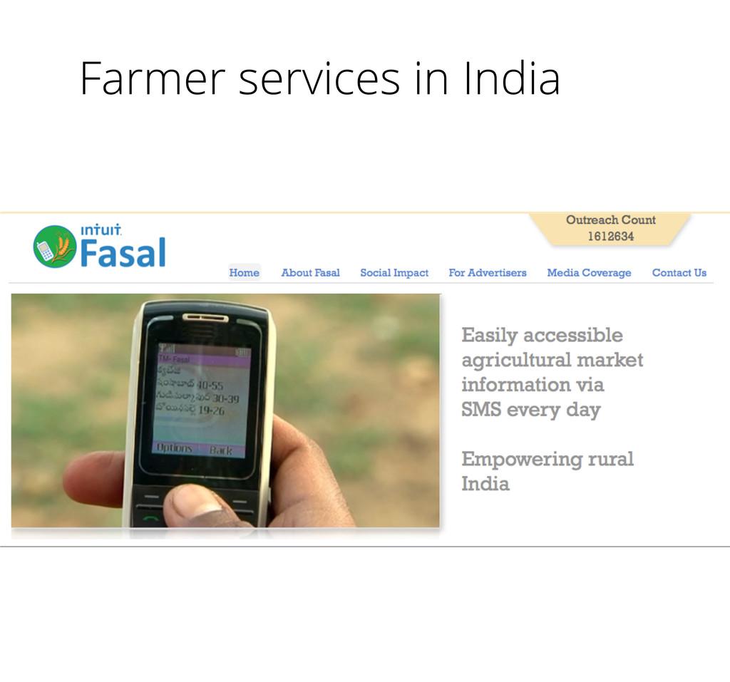 Farmer services in India